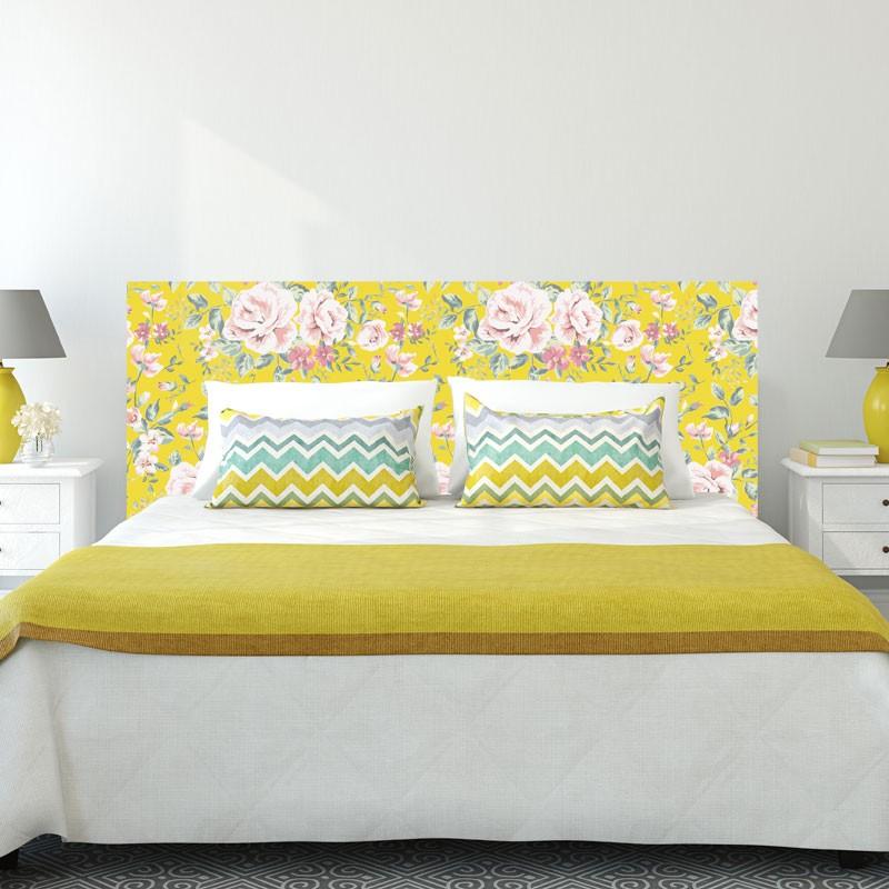 Tete de lit autocollante fleuri